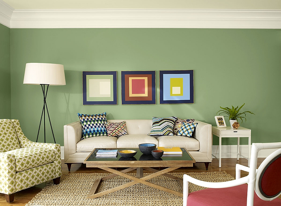 Exquisite use of sage green in the living space - مادر رنگ اکریلیک سبز کارن حجم 300 گرمی